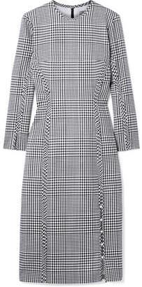 Lela Rose Checked Wool Midi Dress - Gray