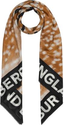Burberry Slogan Animal Print Cotton Silk Large Square Scarf