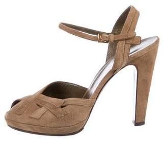 Prada Suede Peep-Toe Sandals