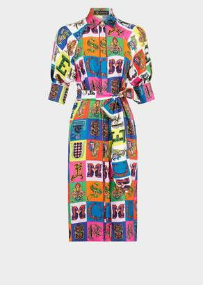 Versace Alphabet Print Silk Midi Shirt Dress