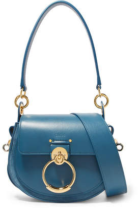 Chloé Tess Leather And Suede Shoulder Bag - Blue