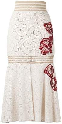 Patbo high-waist embroidered skirt