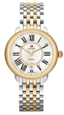 Michele Serein 16 Diamond, Mother-Of-Pearl, 18K Goldplated& Stainless Steel Bracelet Watch
