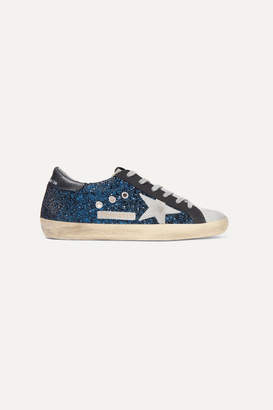 Golden Goose Superstar Distressed Glittered Leather Sneakers - Blue