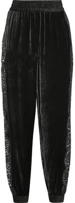 Stella McCartney Lace-trimmed Velvet Track Pants - Black