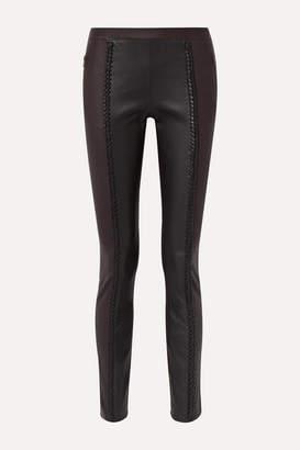 Haider Ackermann Braid-trimmed Leather Skinny Pants - Black