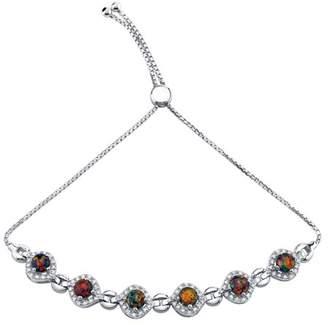 Black Opal Oravo Sterling Silver Created Equate Adjustable Bracelet 2.50 Carats