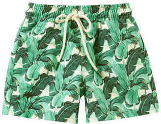 Trunks OAS Kid's Banana Leaf Print Drawstring Swim Trunks, Size 2-14