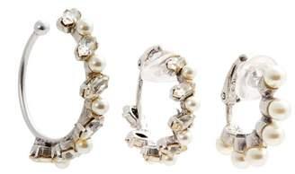 Saint Laurent - Set Of Three Faux Pearl Embellished Hoop Earrings - Womens - Pearl