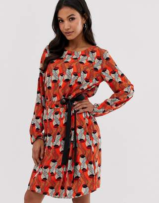 Vila printed shift dress with tie detail