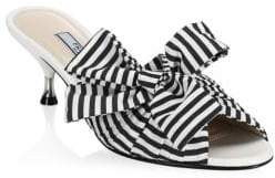Prada Stripe Mules With Large Bow