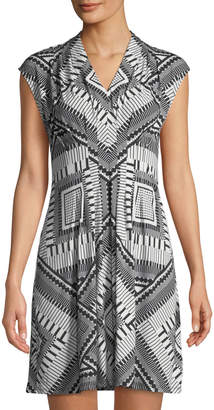 Catherine Malandrino V-Neck Sleeveless Pleated Geometric-Print A-Line Dress