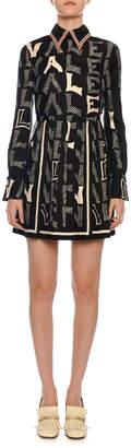 Valentino Long-Sleeve Embroidered-Collar Logo-Print Dress