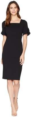 Donna Morgan Midi Length Crepe Dress with Flutter Sleeve Women's Dress