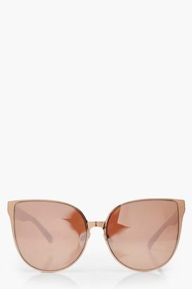 boohoo Rose Gold Oversized Retro Sunglasses