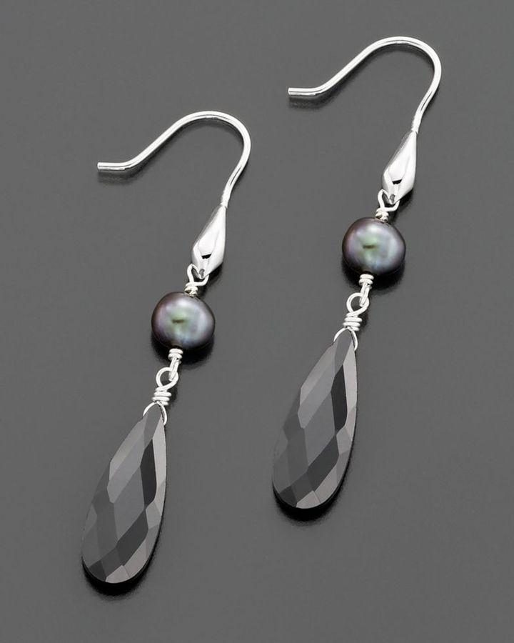 Sterling Silver, Black Cubic Zirconia & Gray Freshwater Pearl Drop Earrings