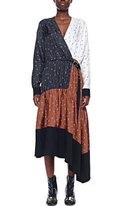 Tibi Ant Polka Dot Patchwork Wrap Dress