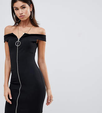Missguided Bardot Zip Front Dress
