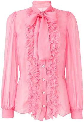 Dolce & Gabbana ruffle trim sheer blouse with pussybow