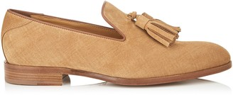 Jimmy Choo FOXLEY Cacao Denim Suede Tasselled Slippers