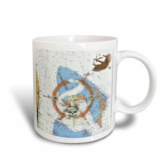 3dRose Print of Bahamas Chart With Shipwreck And Ships Wheel - Ceramic Mug, 15-ounce