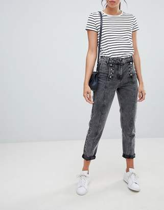 Asos DESIGN Ritson rigid mom jeans in washed black with matelot detail