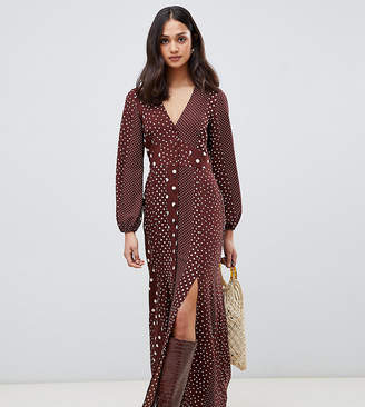 Miss Selfridge maxi dress with blouson sleeve in mixed polka dot