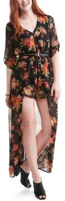 Paper Tee Juniors' Long Sleeve Floral Romper Maxi Dress