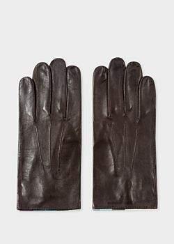 Paul Smith Men's Chocolate Brown Leather 'Artist Stripe' Trim Gloves