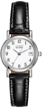 Citizen Ladies Eco-Drive Silver Black Strap Watch Ew1270-06A