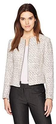 Anne Klein Women's Tweed Zip Front Jacket