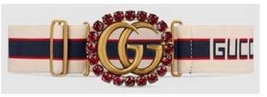 Fashion Concierge Vip Gucci stripe belt with Double G and crystals