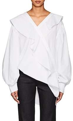 J KOO Women's Asymmetric Ruffled Cotton Poplin Blouse