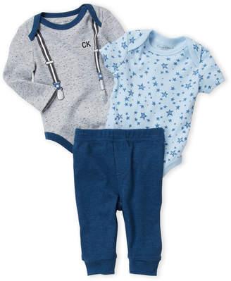 Calvin Klein Newborn Boys) 3-Piece Suspender Bodysuit & Joggers Set