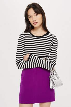 Topshop Long Sleeve Striped Scallop T-Shirt