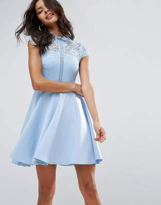 Asos High Neck Mini Skater Dress With Lace Top