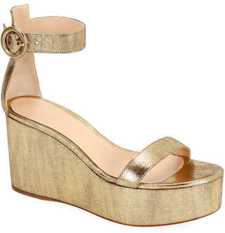 Gianvito Rossi Metallic Leather Ankle-Strap Wedge Sandals