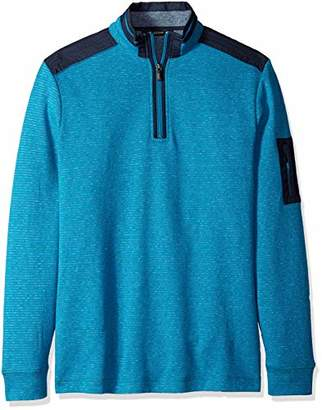 Bugatchi Men's Long Sleeve Classic Fit Half Zip Mock Neck Pullover Shirt