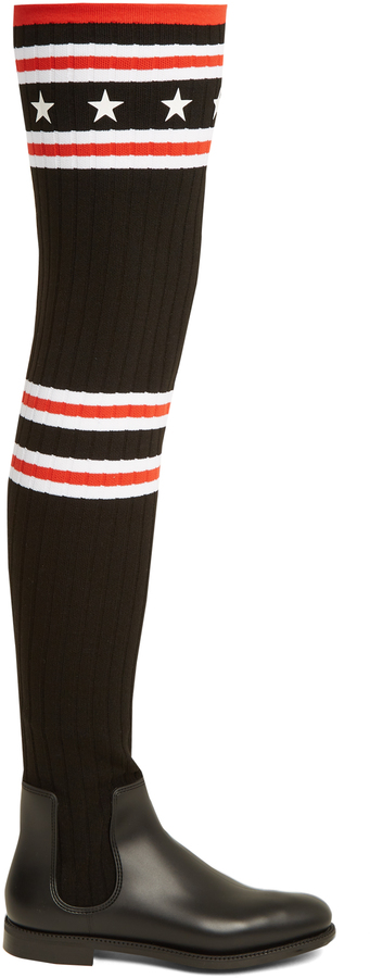 GIVENCHY Storm striped-knit over-the-knee boots