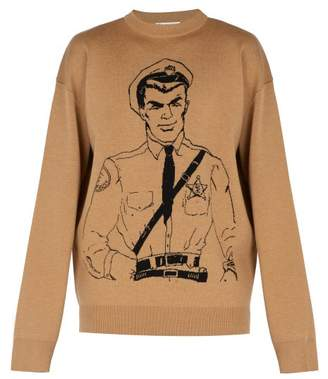 J.W.Anderson Policeman Sketch Merino Wool Sweater - Mens - Beige