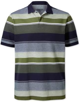 Charles Tyrwhitt Olive Multi Stripe Oxford Pique Cotton Polo Size Large
