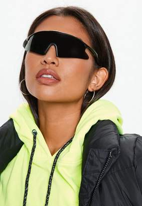 Missguided Gray Reflective Wrap Around Sunglasses