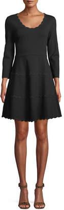 Kate Spade Scoop-Neck Mini Dress In Scalloped Ponte