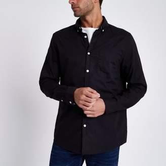 River Island Black long sleeve Oxford shirt