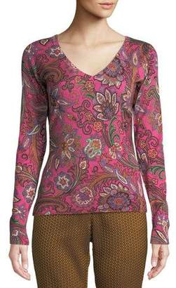 Etro V-Neck Long-Sleeve Paisley-Print Silk-Cashmere Sweater