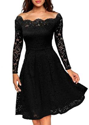 Anxihanee Women's Vintage Floral Lace Boat Neck Wedding Party Cocktail Formal Swing Dress (XL, )