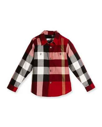 Burberry Camber Poplin Check Shirt, Parade Red, Size 4-14 $150 thestylecure.com