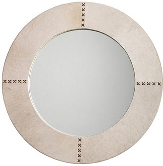 """Jamie Young Cross 36"""" Stitch Wall Mirror - White Hide"""