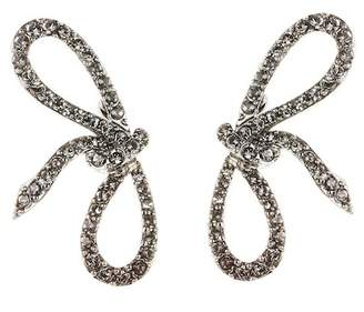 Oscar de la Renta Pave Bow Spiral Earrings