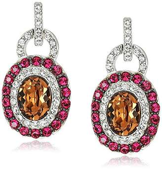 Swarovski Platinum-Plated Crystal Light Smoked Topaz Oval-Cut Double Halo with Ruby and Clear Stud Earrings